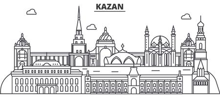 Russia, Kazan architecture line skyline illustration.