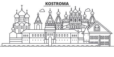 Russia, Kostroma architecture line skyline illustration.