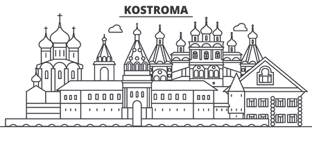 Russia, Kostroma architecture line skyline illustration.