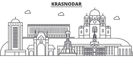 Russia, Kransodar architecture line skyline illustration.