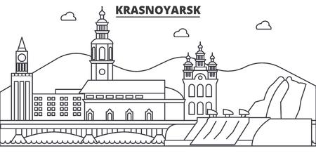 Russland, Krasnojarsk-Architekturlinie Skylineillustration. Standard-Bild - 87751559