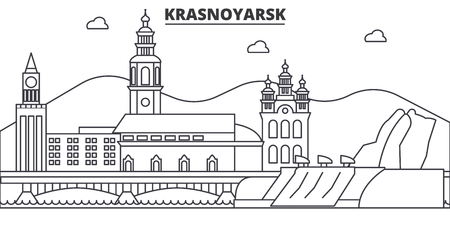 Russia, Krasnoyarsk architecture line skyline illustration.