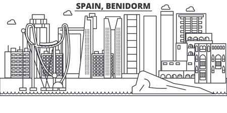 Spain, Benidorm architecture line skyline illustration.