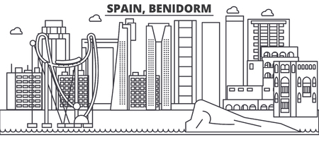 Spain, Benidorm architecture line skyline illustration.