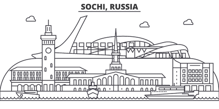 Russia, Sochi architecture line skyline illustration.