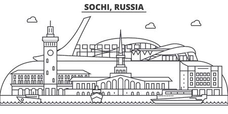 Russia, Sochi architecture line skyline illustration.