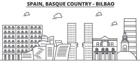 Spain, Bilbao, Basque Country architecture line skyline illustration.