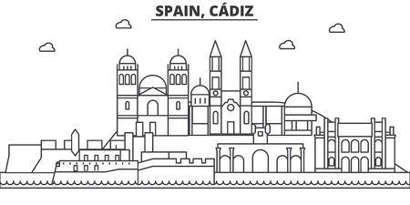 Spain, Cadiz architecture line skyline illustration. Иллюстрация