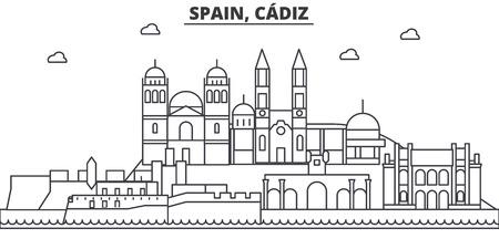 Spain, Cadiz architecture line skyline illustration. Illustration