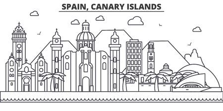 Spain, Canary Islands architecture line skyline illustration.