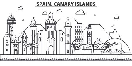 Spanje, van de de architectuurlijn van de Canarische Eilanden de horizonillustratie.