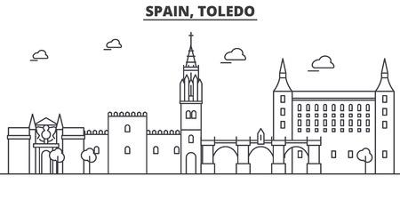 Spain, Toledo architecture line skyline illustration. Illustration