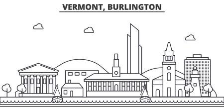 Vermont, Burlington architecture line skyline illustration.