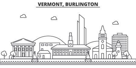 Vermont, Burlington-de horizonillustratie van de architectuurlijn.