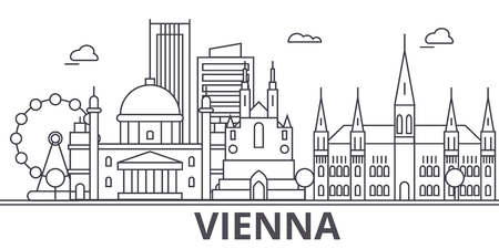 Vienna architecture line skyline illustration.