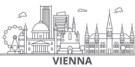 Vienna architecture line skyline illustration.