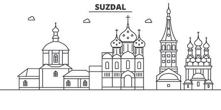 Russia, Suzdal architecture line skyline illustration. Illustration