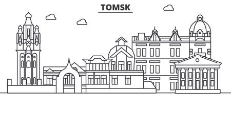 Russland, Tomsk-Architekturlinie Skylineillustration. Standard-Bild - 87752712