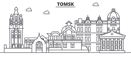 Russia, Tomsk architecture line skyline illustration.