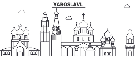 Russia, Yaroslavl architecture line skyline illustration. Ilustração