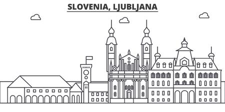 Slovénie, architecture de Ljubljana ligne illustration de skyline. Banque d'images - 87752714