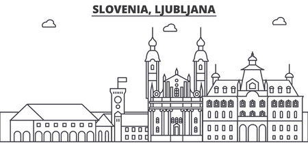 Slovenia, Ljubljana architecture line skyline illustration.