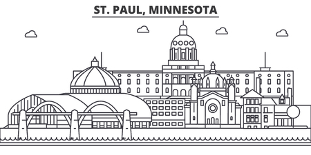 St. Paul, Minnesota architecture line skyline illustration.