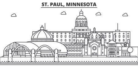 St. Paul, Minnesota architecture line skyline illustration.
