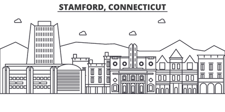 Stamford, Connecticut architecture line skyline illustration.