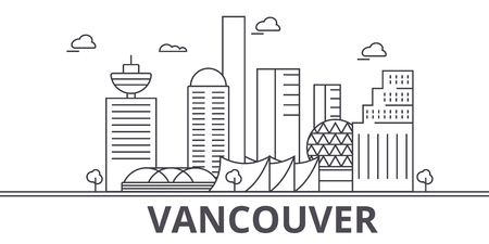 Vancouver architecture line skyline illustration.