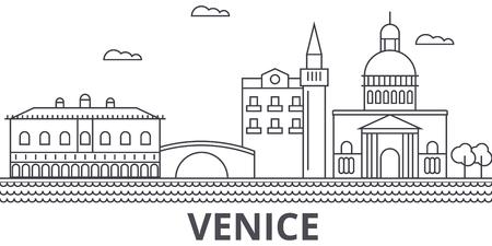 Venice architecture line skyline illustration. Çizim