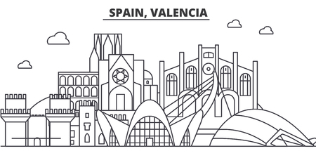 Spain, Valencia architecture line skyline illustration.