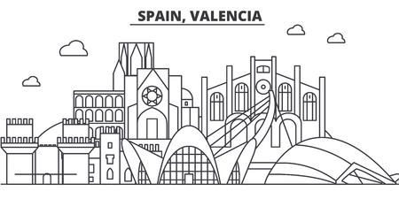 Spain, Valencia architecture line skyline illustration.