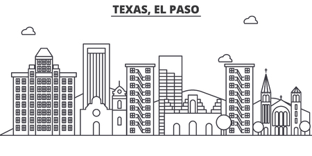 Texas El Paso architecture line skyline illustration.