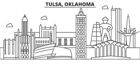Tulsa, Oklahoma architecture line skyline illustration.