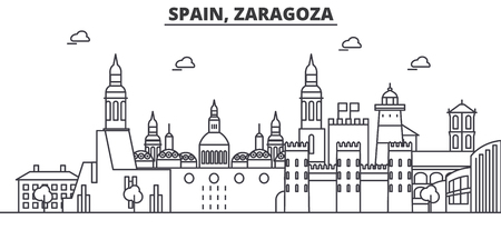 Spain, Zaragoza architecture line skyline illustration.