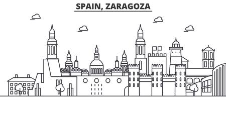 Espagne, illustration de skyline ligne architecture de Saragosse. Banque d'images - 87752724
