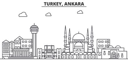 Turkey, Ankara architecture line skyline illustration.
