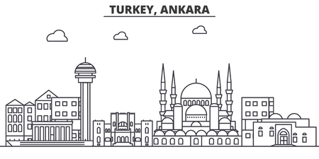 Turkey, Ankara architecture line skyline illustration.