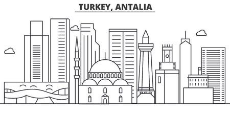 Turkey, Antalia architecture line skyline illustration.