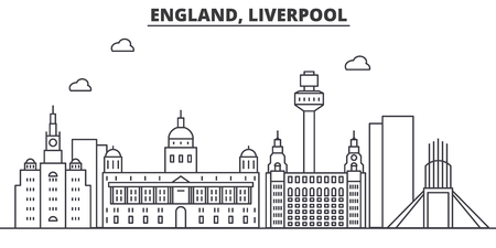 Uk. Liverpool architecture line skyline illustration.