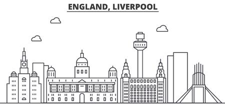 Uk. Liverpool architectuur lijn skyline illustratie. Stock Illustratie