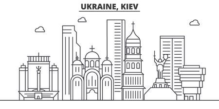 Oekraïne, Kiev architectuur lijn skyline illustratie. Stockfoto - 87752727