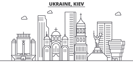Ukraine, Kiev architecture line skyline illustration. Illustration