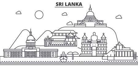 Sri Lanka architecture line skyline illustration.