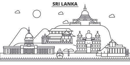 srilanka: Sri Lanka architecture line skyline illustration.