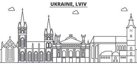 우크라이나, Lviv 아키텍처 라인 스카이 라인 그림입니다. 일러스트