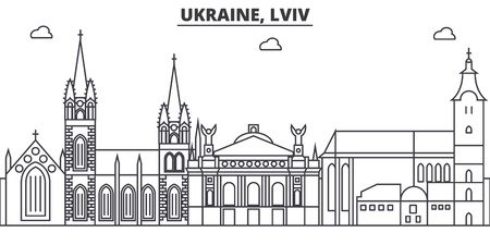 Ukraine, Lviv architecture line skyline illustration.