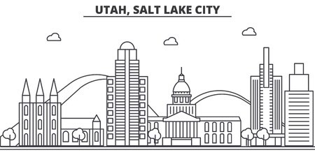 Utah, Salt Lake City architecture line skyline illustration.