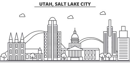 Utah, Salt Lake City architecture line skyline illustration.